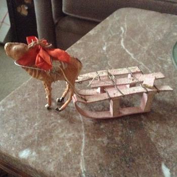 Reindeer with cardboard sleigh