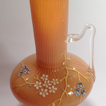 Victorian pink cased glass vase with applied handle & floral decoration - Art Glass