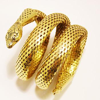 Vintage Whiting & Davis Triple Coil Snake Bracelet - Costume Jewelry
