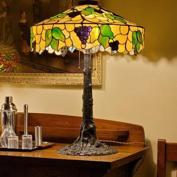 Bent Glass Novelty Company grape shade on a Goodwin and Kintz tree trunk base - Lamps