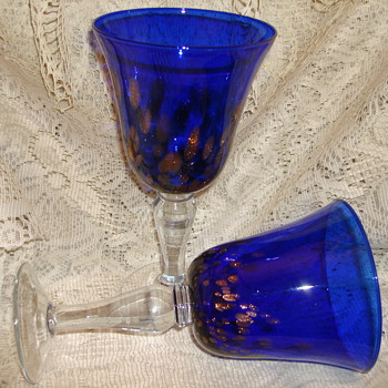 "CYRSTAL COBALT GOBLETS WITH ""GOLD DUST GLITTER"" DOTS - Glassware"