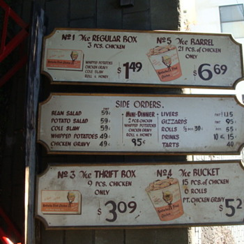 Old Kentucky Fried Chicken menu boards from the 60's? - Signs
