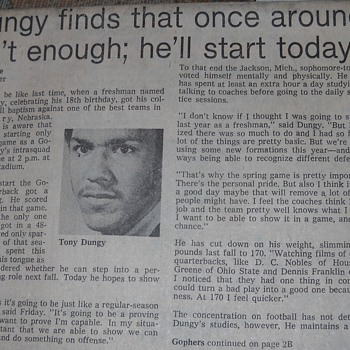 Tony Dungy article - Minneapolis Tribune, 1974 - Football