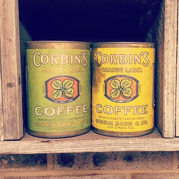 Corbin and sons coffee cans - Advertising