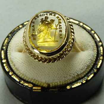 "A Georgian Tassie Seal ""To Hell With Love"", set in a later Victorian Gold Ring"