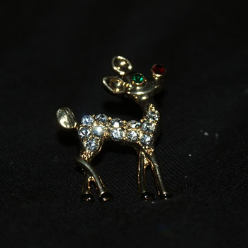 Rudolph the Red Nosed Reindeer Eisenberg Pin - Costume Jewelry