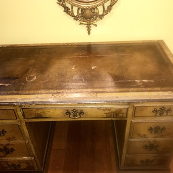 Chinese Desk with leather top  - Asian