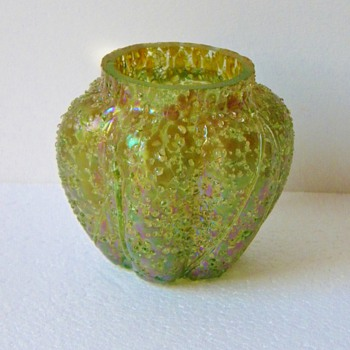 "Art Nouveau Pallme-König Frit Green Purple Iridescent Lobed Vase 2.75"" Miniature - Art Glass"