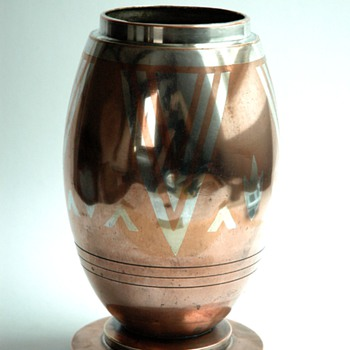 french art deco dinanderie vase by LUC LANEL for christofle - Art Deco