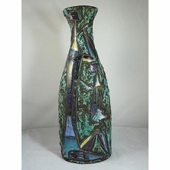 "Marcello Fantoni - 1950's Italian Cubist ""Cat Woman & Daughter"" Lava Glaze Vase - Pottery"