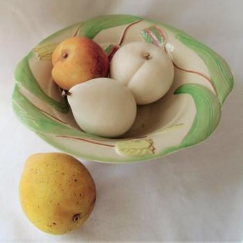 English Avon Ceramic Fruit Bowl & Fake Fruits Peaches and Pears - Pottery