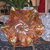 Carnival glass bowl with Acanthus pattern.
