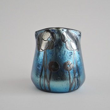 Loetz - cobalt Norma with silver overlay designed by Antonija Krasnik - Art Glass
