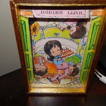 Vintage Shadow Box Windup Musical Happy Birthday With Dancing Girl - Cards