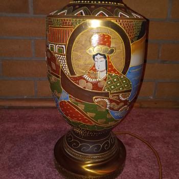 Vintage Japanese Satsuma Lamp - Asian