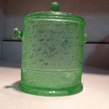 Fenton Ming Macaroon Jar in Green Etch 1930's - Glassware