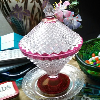 English Hobnail Ruby Stained Candy Dish - Glassware