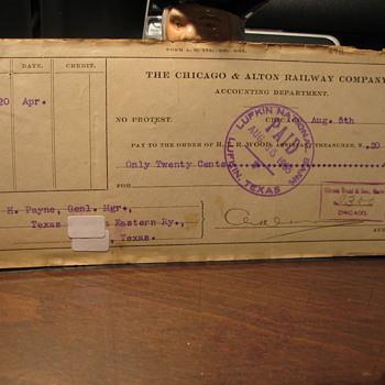 Old Railroad Checks - Railroadiana