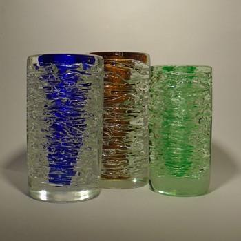 Frantisek Vizner 'whirlpool' vases -- Skrdlovice 1968 - Art Glass