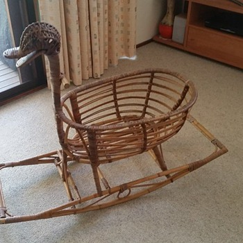 1970's cane baby rocker - Furniture