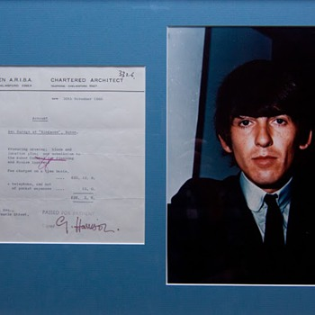 George Harrison signed receipt-1966 - Music Memorabilia