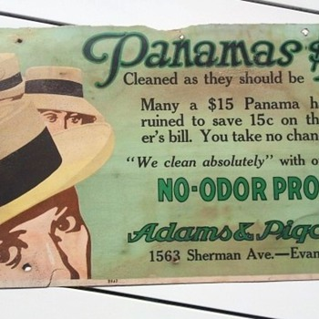 Panamas Cleaning Service Advertisement Sign Pre-1920's - Signs