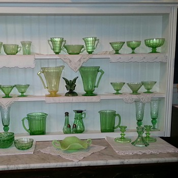 My Glowing Green Depression Glassware