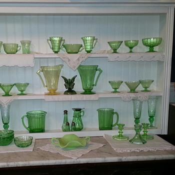 My Glowing Green Depression Glassware - Glassware