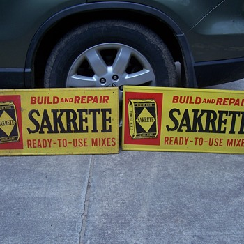 vintage metal Sakrete cement signs - Advertising