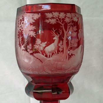 Josepheninenhutte Flashed Goblet c1840 - Art Glass