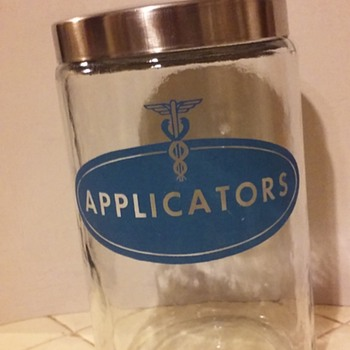 "old glass ""APPLICATORS"" jar/lid from a doctor's office"