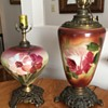 Two Hand Painted Oil Lamps