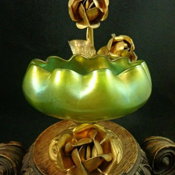 Antique Bohemian Green Iridescent Art Nouveau Glass Bowl with Floral Stand - Art Glass