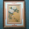 """""""Peonies and Gold Finch"""" Chinese Gauche/Gong-Bi Style after Southern Song Paintings/Matted  & Framed 16""""x20""""/Circa 20th Century"""