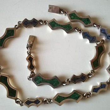 Taxco Inlaid Sterling Silver Necklace Flea Market Find 2,50 Euro ($2.69) - Fine Jewelry