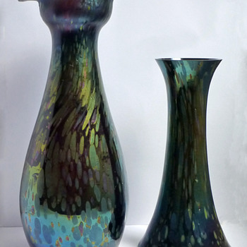 Rindskopf Iridescent Oil Spot Quatrefoil Vase - Art Glass