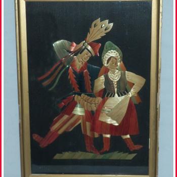 Krakowiak Polish Traditional Dancers Straw Art Framed Vintage Stryje?ska