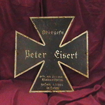 Original WW II German Iron Cross Grave Marker - Military and Wartime