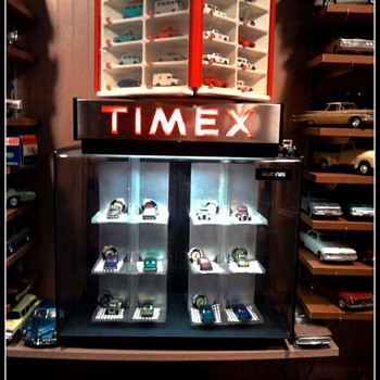 An old $30 Timex case that revolves is the perfect place for my Redlines and Matchbox cars...
