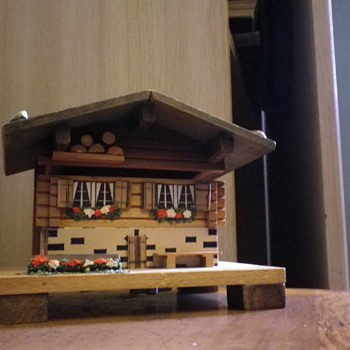 Swiss Musical Movement Music Box traditional minature house cabin playing Music - Music Memorabilia
