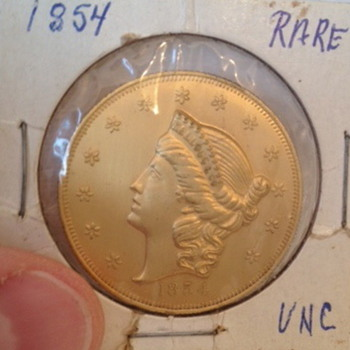 1854 Twenty Dollar Gold San Francisco Mint Coin