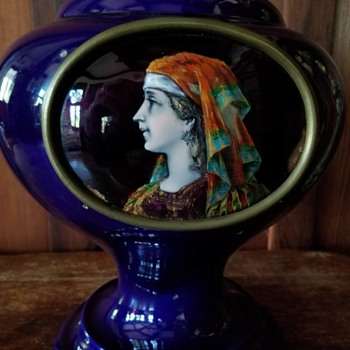 Blue Sèvres Style Pottery Urn with Limoges Enamel of Renaissance Woman, France, ca 1880-1900, Galle Pottery? - Pottery