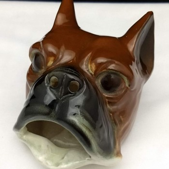 Vintage Mid Century Tobacco Boxer Dog Head Ceramic Ashtray - Tobacciana