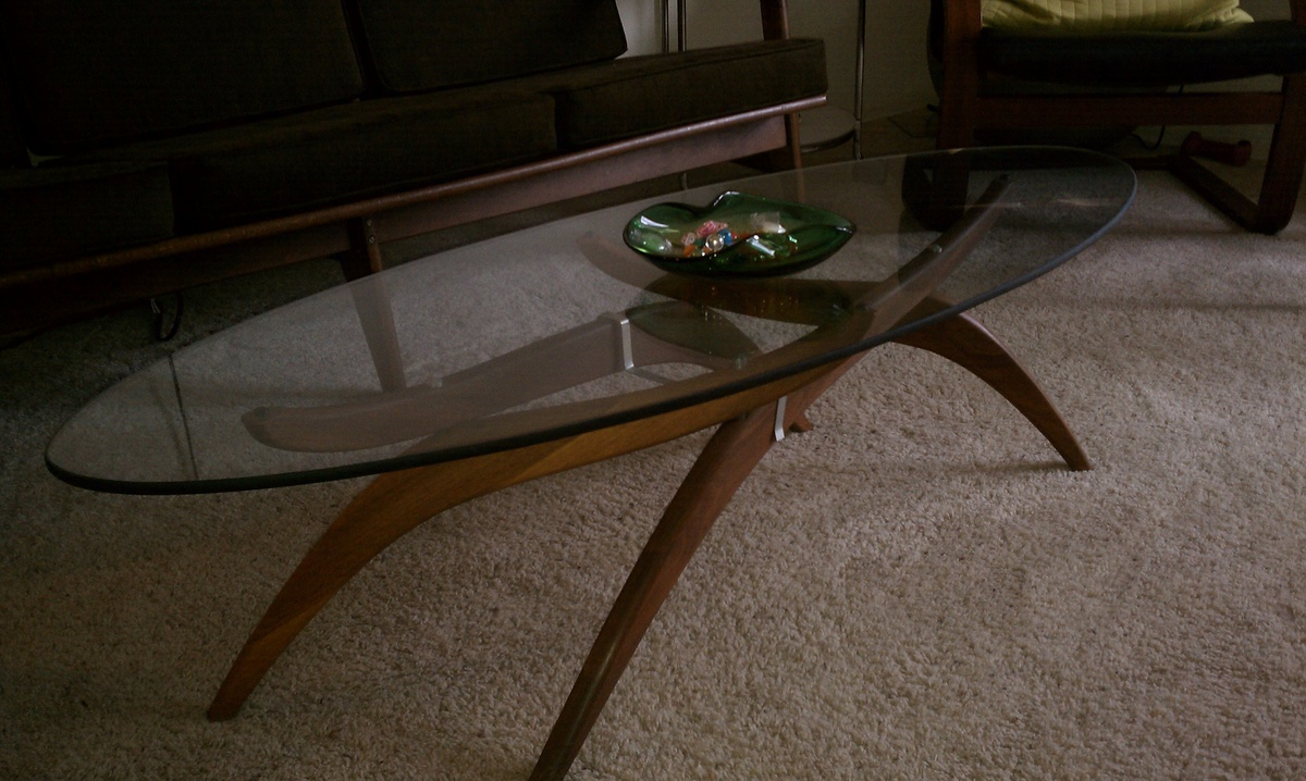 Mid Century Modern Teak Base Coffee Table With Adjustable Legs And Glass Top  | Collectors Weekly