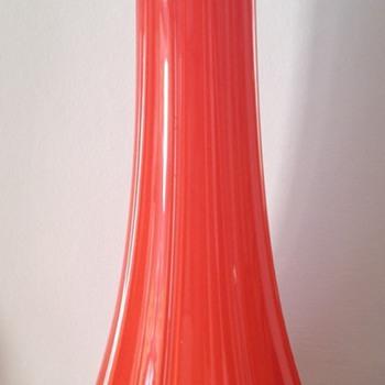 Cased ribbed tango glass vase London 1923 - Art Glass