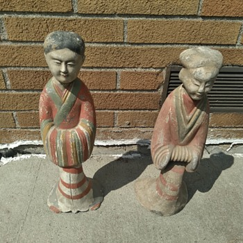 Vintage Chinese Attendant Statues - Asian