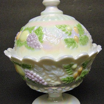Westmoreland Della Robbia footed, covered candy dish - Mother of Pearl - pastel fruit