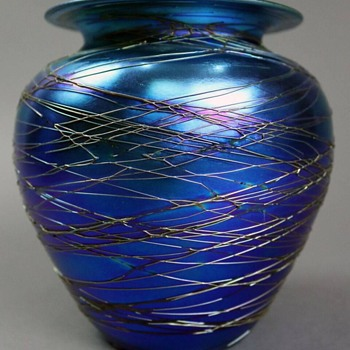 Durand Blue Iridescent Vase with Spider Webbing c.1925. - Art Glass