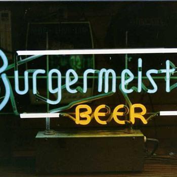 Burgermeister backbar neon - Breweriana