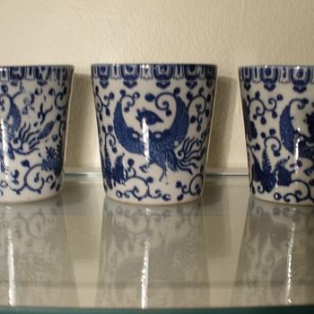 Blue Pheonix/Turkey ware cups - Asian